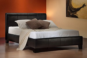 BLACK LEATHER BED FRAME AND ORTHOPAEDIC MATTRESS