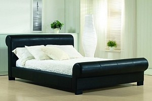 BLACK SCROLL LEATHER BED FRAME AND ORTHOPAEDIC MATTRESS
