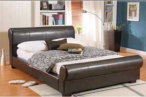 BROWN SCROLL LEATHER BED FRAME AND MEMORY FOAM POCKET SPRUNG MATTRESS