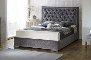 Fabric Upholstered Storage Bed Frame 4'6 Double 5ft King Size
