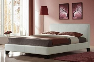 WHITE LEATHER BED FRAME AND MEMORY FOAM POCKET SPRUNG MATTRESS
